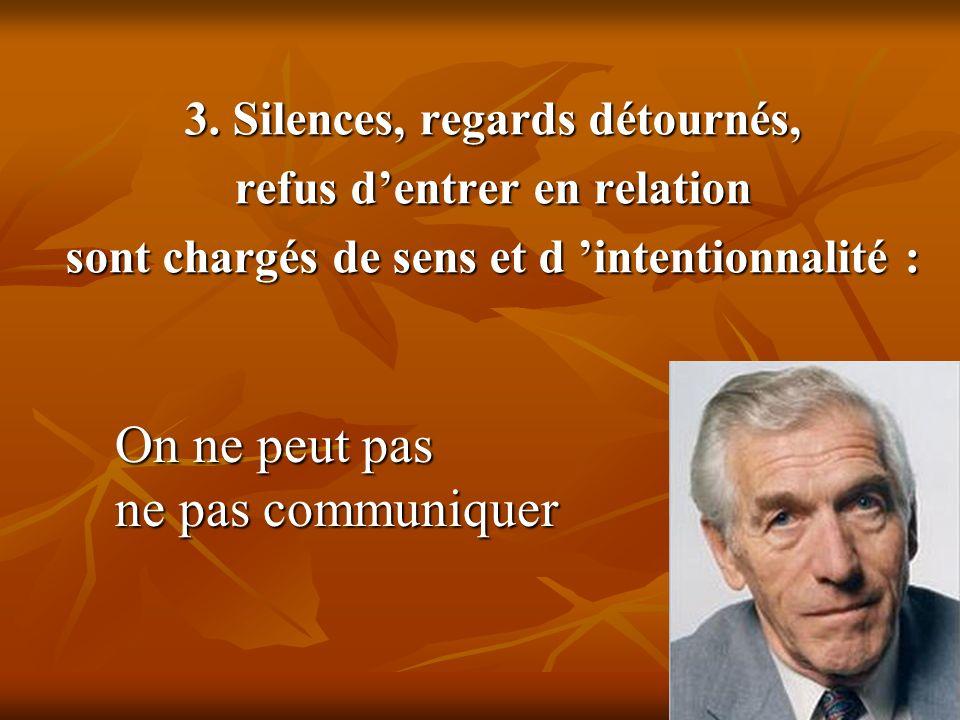 3. Silences, regards détournés, refus dentrer en relation sont chargés de sens et d intentionnalité : On ne peut pas ne pas communiquer