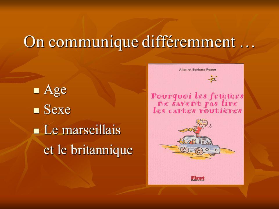 On communique différemment … Age Age Sexe Sexe Le marseillais Le marseillais et le britannique et le britannique