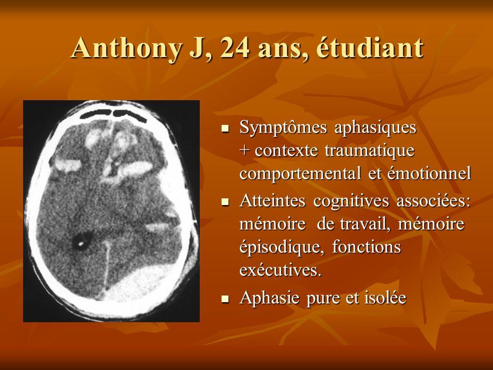 Anthony J, 24 ans, étudiant Symptômes aphasiques + contexte traumatique comportemental et émotionnel Symptômes aphasiques + contexte traumatique compo