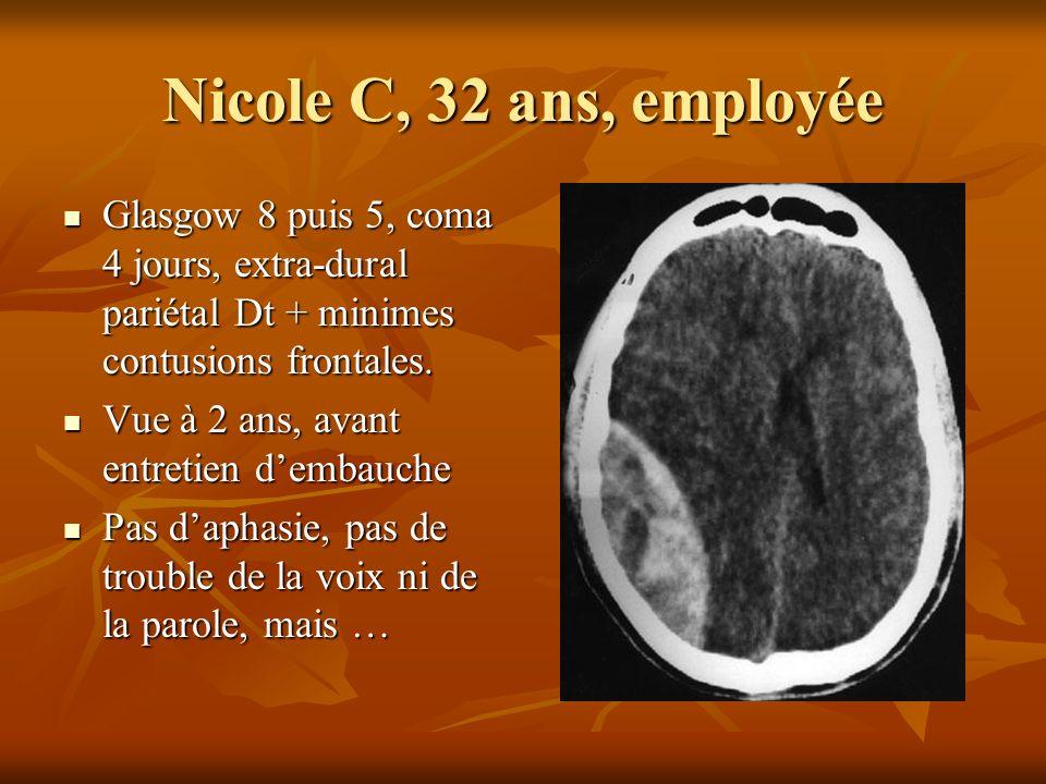 Nicole C, 32 ans, employée Glasgow 8 puis 5, coma 4 jours, extra-dural pariétal Dt + minimes contusions frontales. Glasgow 8 puis 5, coma 4 jours, ext