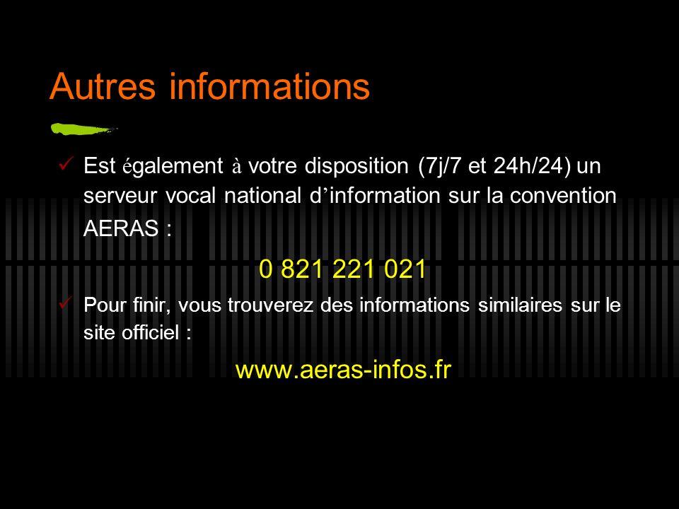 Autres informations Est é galement à votre disposition (7j/7 et 24h/24) un serveur vocal national d information sur la convention AERAS : 0 821 221 02