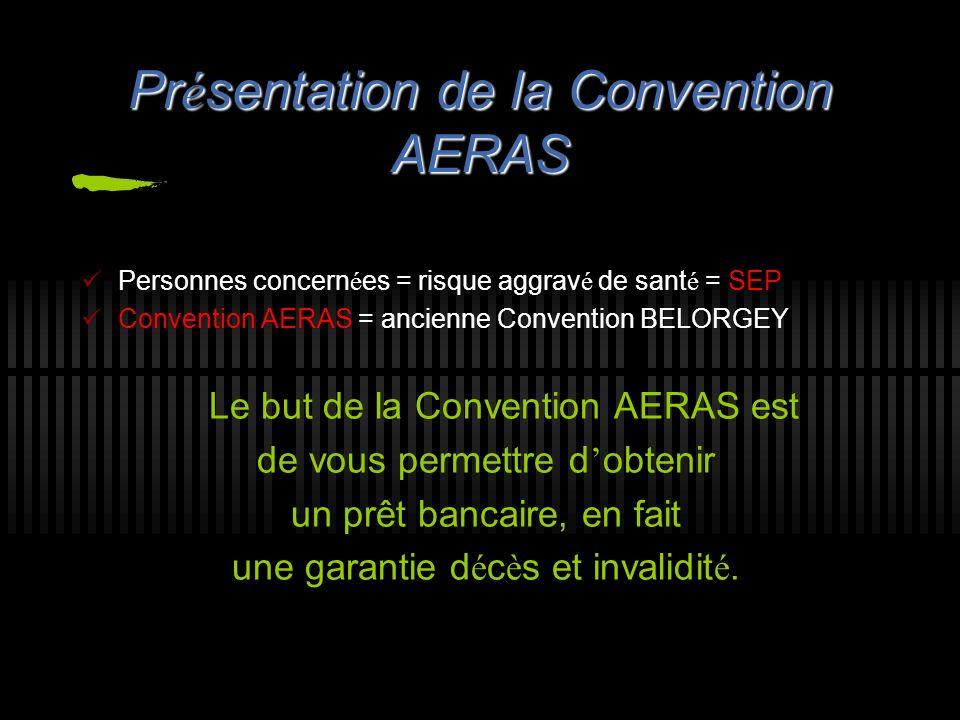 Pr é sentation de la Convention AERAS Personnes concern é es = risque aggrav é de sant é = SEP Convention AERAS = ancienne Convention BELORGEY Le but
