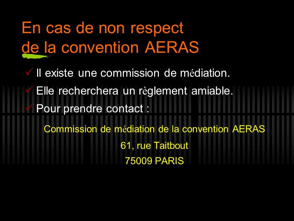 En cas de non respect de la convention AERAS Il existe une commission de m é diation. Elle recherchera un r è glement amiable. Pour prendre contact :
