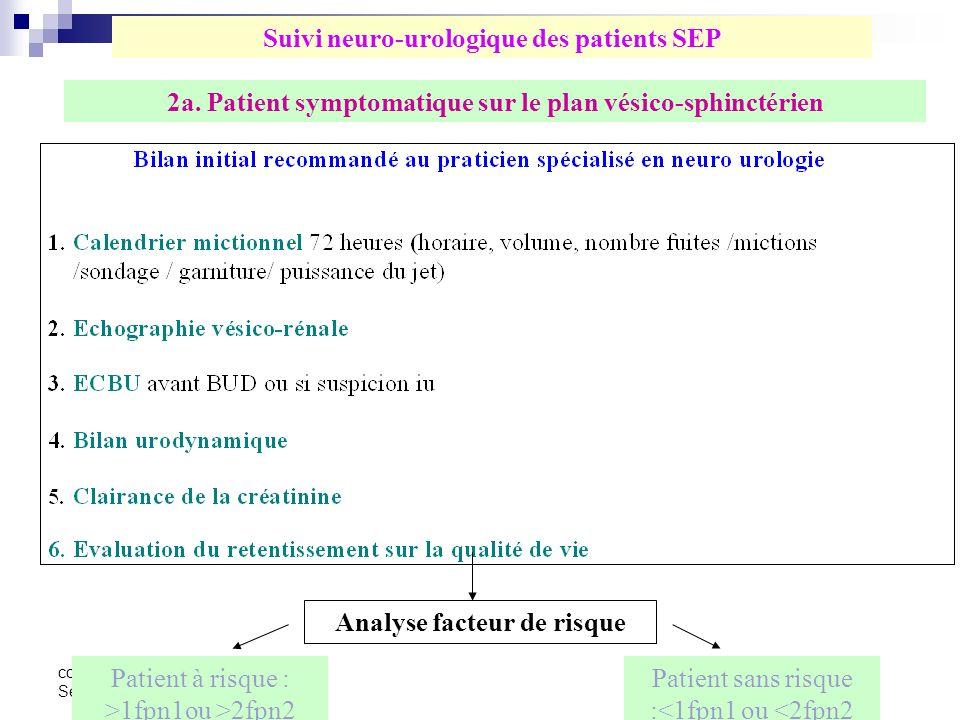 congrès aquisep San Sebastian 2 2 7 2a. Patient symptomatique sur le plan vésico-sphinctérien Analyse facteur de risque Patient à risque : >1fpn1ou >2