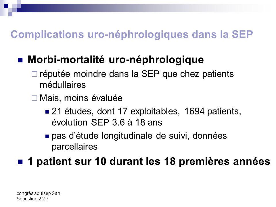 congrès aquisep San Sebastian 2 2 7 Complications uro-néphrologiques dans la SEP Morbi-mortalité uro-néphrologique réputée moindre dans la SEP que che