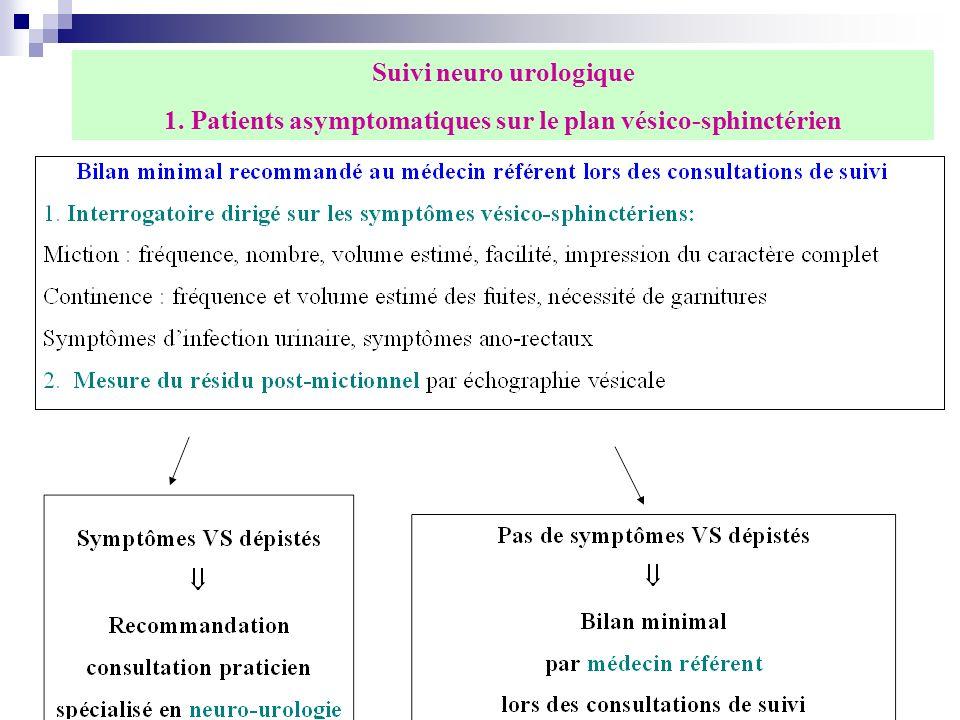congrès aquisep San Sebastian 2 2 7 Suivi neuro urologique 1. Patients asymptomatiques sur le plan vésico-sphinctérien
