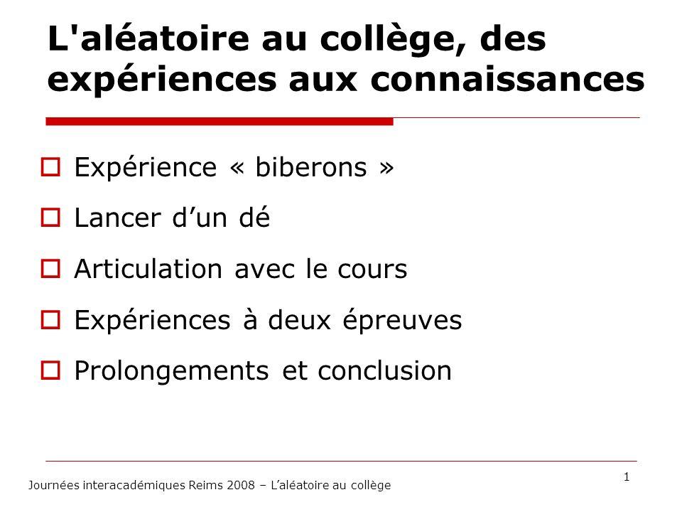 L'aléatoire au collège, des expériences aux connaissances Expérience « biberons » Lancer dun dé Articulation avec le cours Expériences à deux épreuves