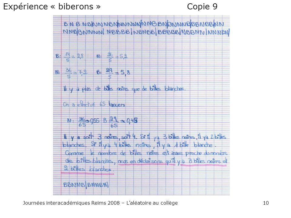 10Journées interacadémiques Reims 2008 – Laléatoire au collège Copie 9Expérience « biberons »