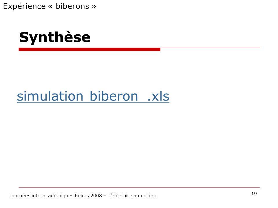 Synthèse Expérience « biberons » 19 Journées interacadémiques Reims 2008 – Laléatoire au collège simulation biberon_.xls
