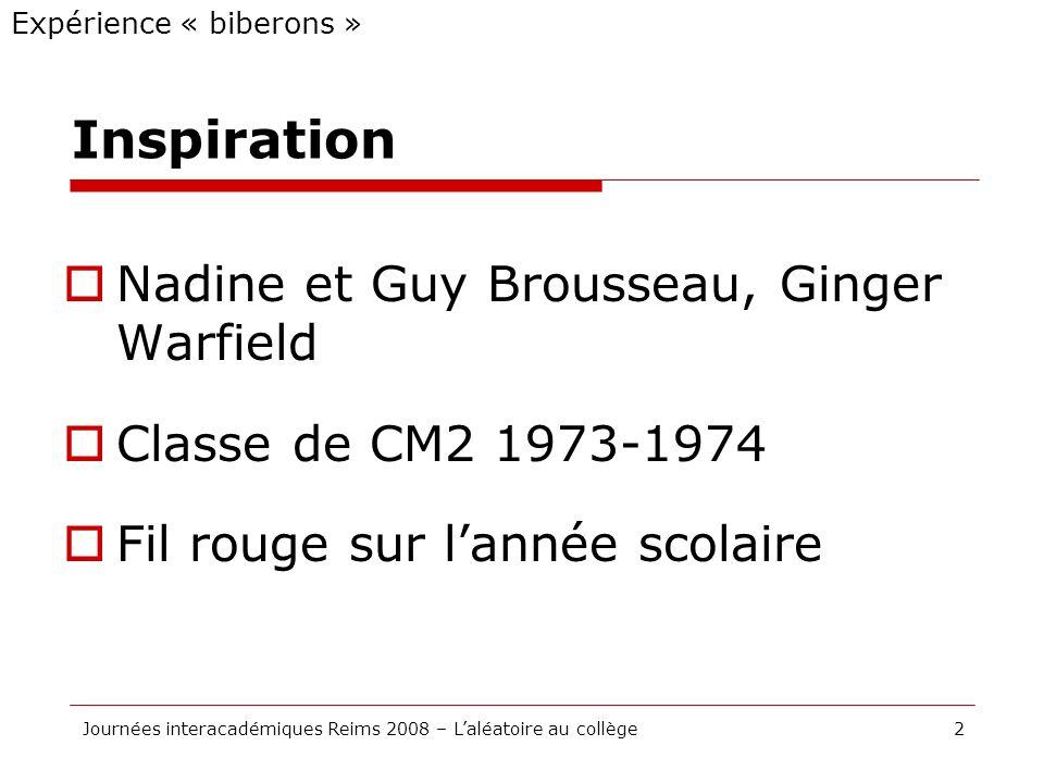 Inspiration Nadine et Guy Brousseau, Ginger Warfield Classe de CM2 1973-1974 Fil rouge sur lannée scolaire Expérience « biberons » 2Journées interacad