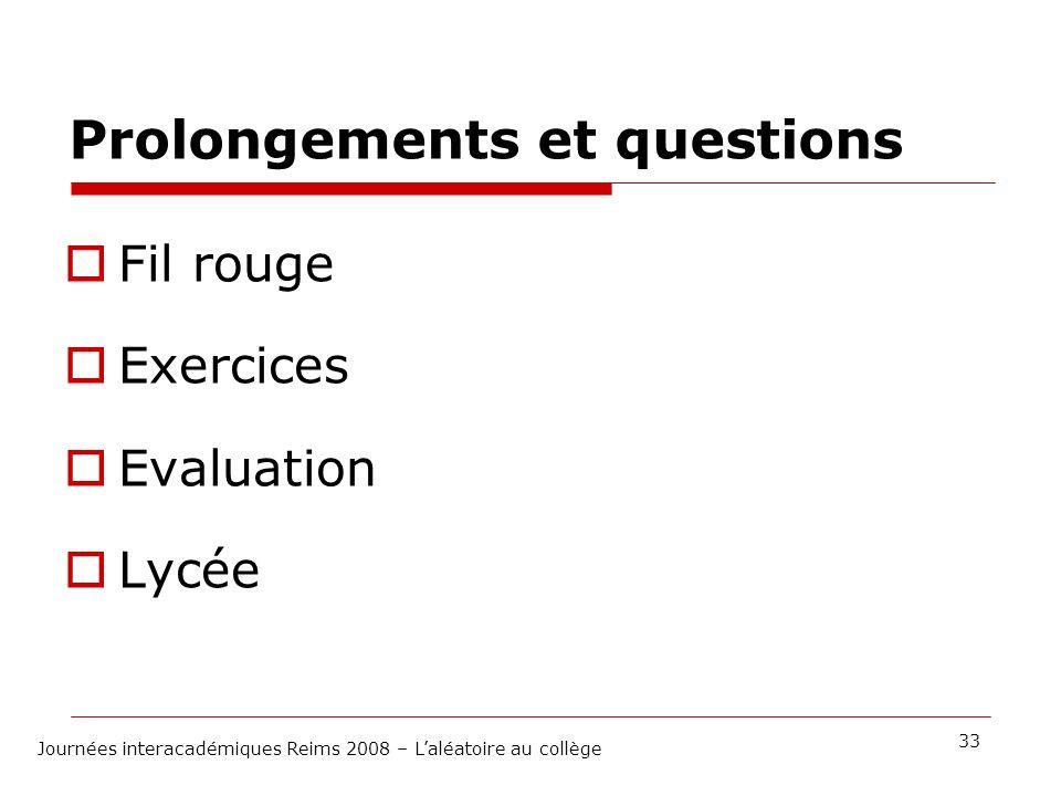 Prolongements et questions Fil rouge Exercices Evaluation Lycée 33 Journées interacadémiques Reims 2008 – Laléatoire au collège