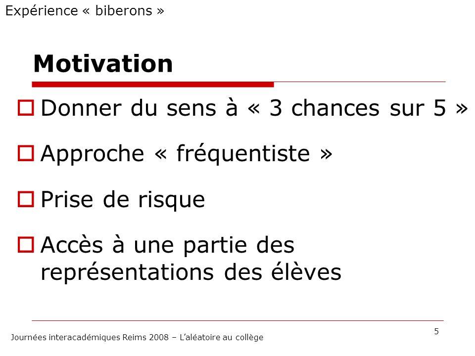 Motivation Donner du sens à « 3 chances sur 5 » Approche « fréquentiste » Prise de risque Accès à une partie des représentations des élèves Expérience