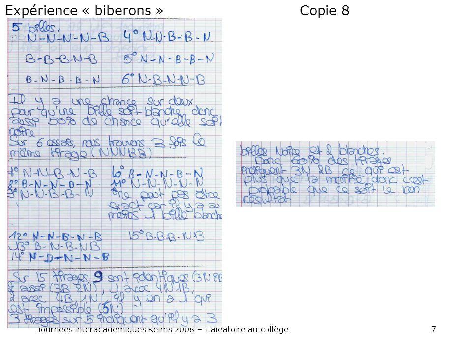 7Journées interacadémiques Reims 2008 – Laléatoire au collège Copie 8Expérience « biberons »