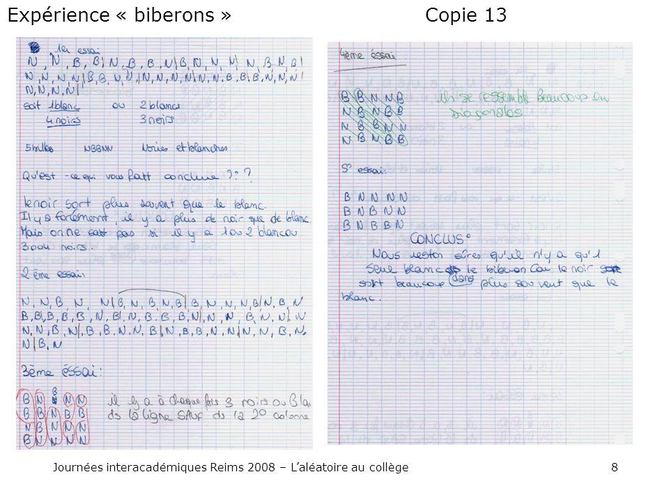8Journées interacadémiques Reims 2008 – Laléatoire au collège Copie 13Expérience « biberons »