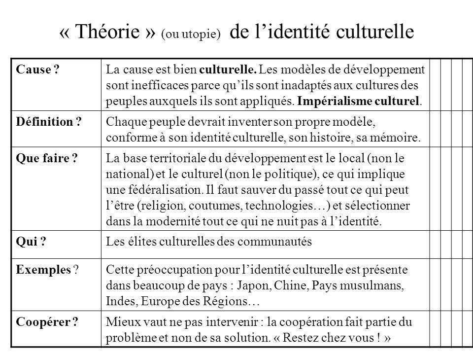« Théorie » (ou utopie) de lidentité culturelle Cause ?La cause est bien culturelle. Les modèles de développement sont inefficaces parce quils sont in