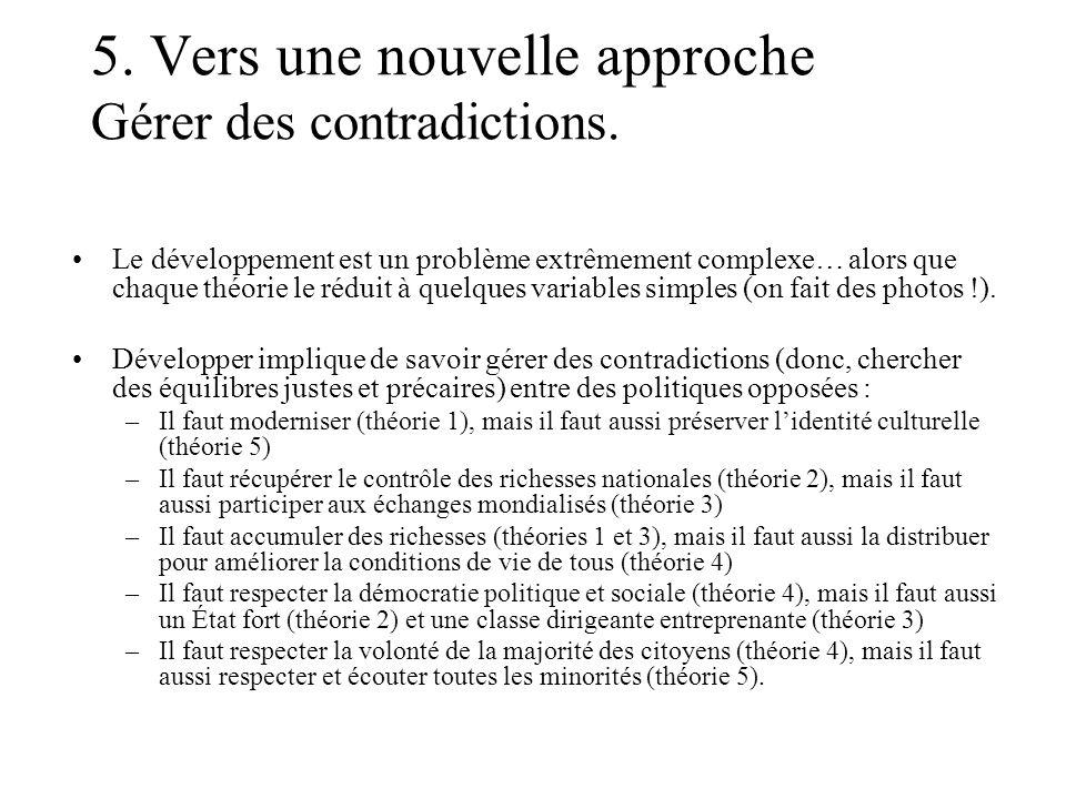 5. Vers une nouvelle approche Gérer des contradictions. Le développement est un problème extrêmement complexe… alors que chaque théorie le réduit à qu