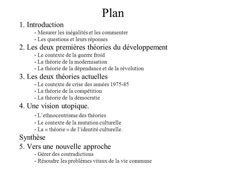 Plan 1. Introduction - Mesurer les inégalités et les commenter - Les questions et leurs réponses 2. Les deux premières théories du développement - Le