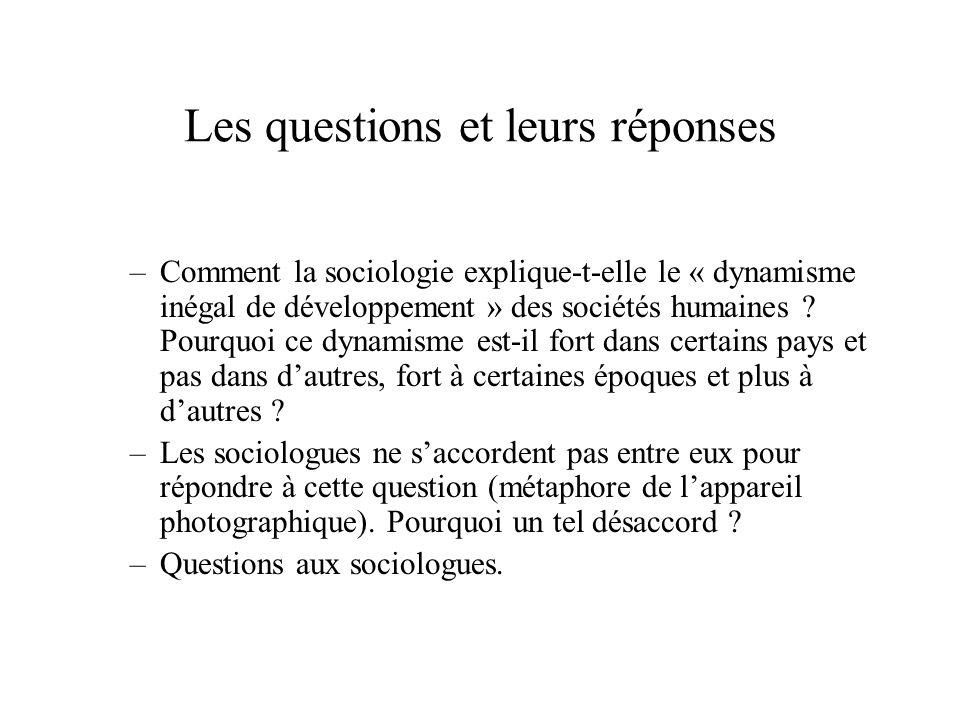 Les questions et leurs réponses –Comment la sociologie explique-t-elle le « dynamisme inégal de développement » des sociétés humaines ? Pourquoi ce dy