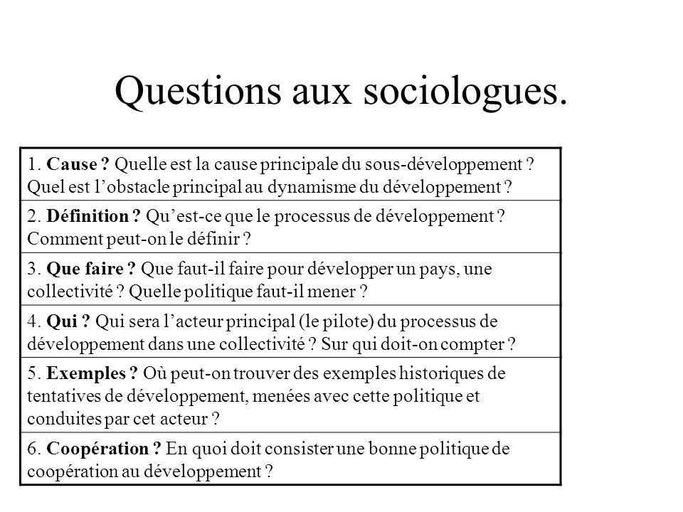 Questions aux sociologues. 1. Cause ? Quelle est la cause principale du sous-développement ? Quel est lobstacle principal au dynamisme du développemen