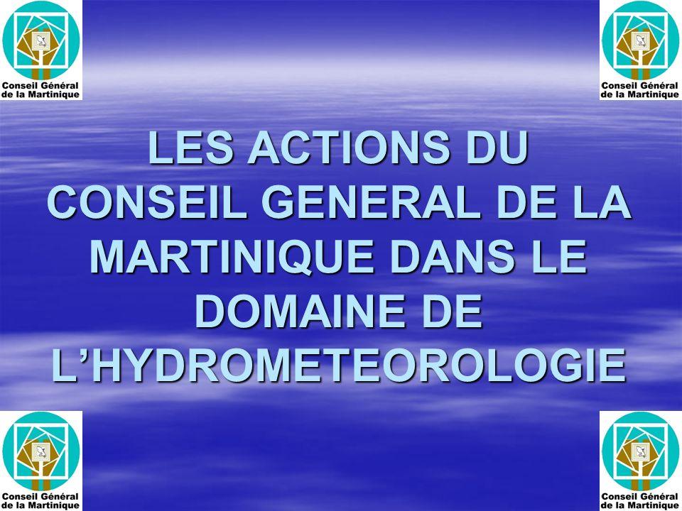 Base de données Département français un des mieux équipé en matière de réseau de stations automatiques Département français un des mieux équipé en matière de réseau de stations automatiques Lensemble des données hydrométéorologiques sont répertoriées dans une base rattachée au Système dInformation Géographique de la MArtinique (SIGMA) mis en place par le Conseil Général en 1992 Lensemble des données hydrométéorologiques sont répertoriées dans une base rattachée au Système dInformation Géographique de la MArtinique (SIGMA) mis en place par le Conseil Général en 1992 Les données brutes sont disponibles en temps réel sur les sites internet du Conseil Général : Portail INFEAU Les données brutes sont disponibles en temps réel sur les sites internet du Conseil Général : Portail INFEAU www.cg972.fr www.cg972.frwww.cg972.fr www.cgste.mq www.cgste.mqwww.cgste.mq