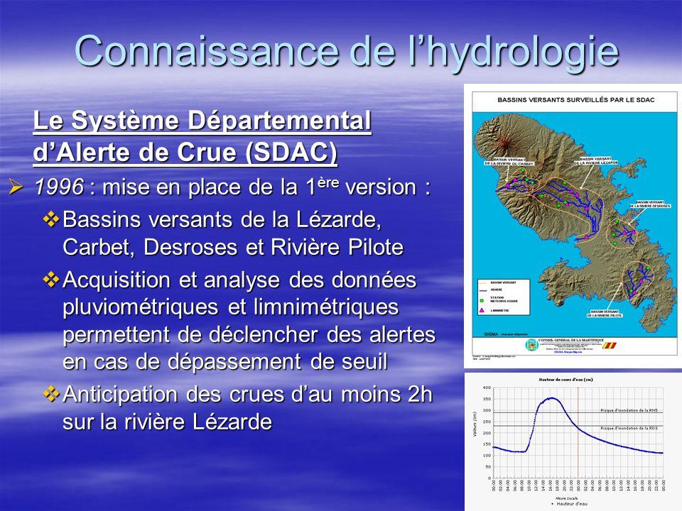 Connaissance de lhydrologie Le Système Départemental dAlerte de Crue (SDAC) 1996 : mise en place de la 1 ère version : 1996 : mise en place de la 1 èr