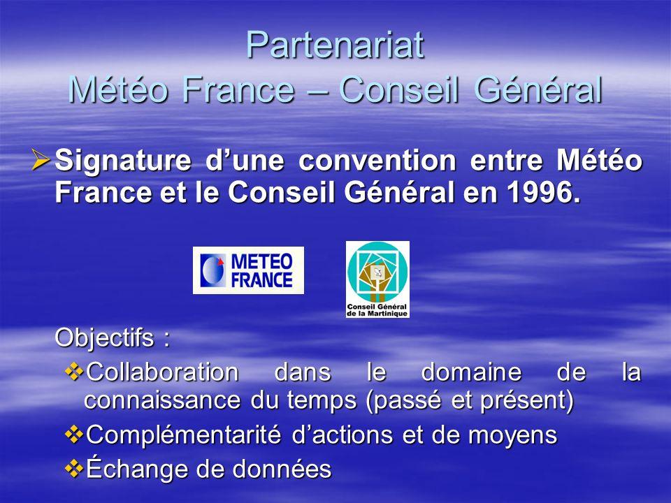 Partenariat Météo France – Conseil Général Signature dune convention entre Météo France et le Conseil Général en 1996. Signature dune convention entre