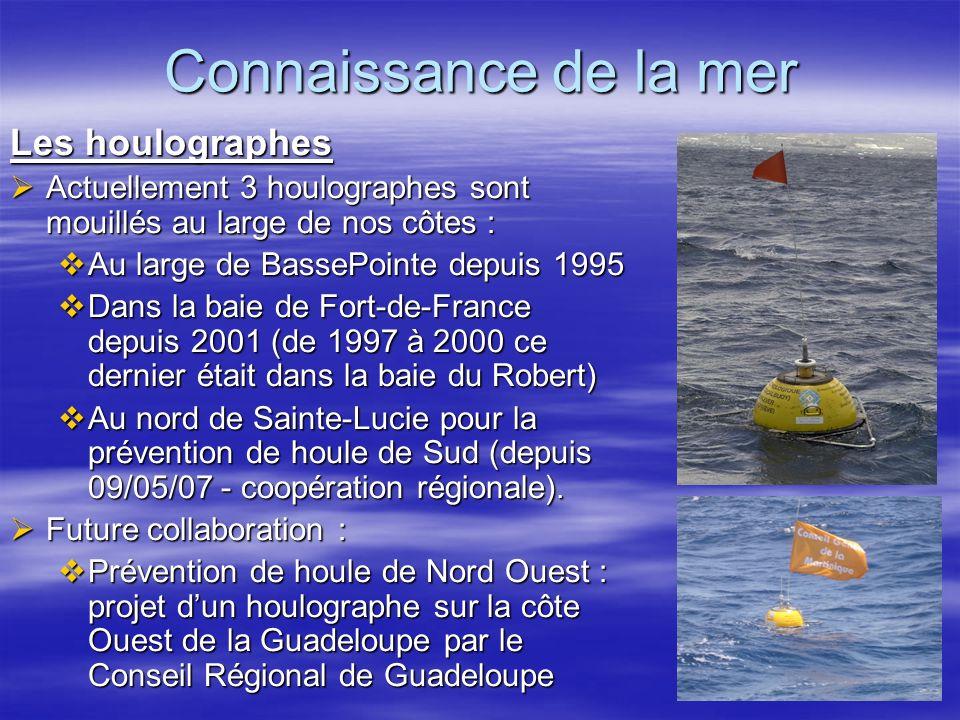 Connaissance de la mer Les houlographes Actuellement 3 houlographes sont mouillés au large de nos côtes : Actuellement 3 houlographes sont mouillés au