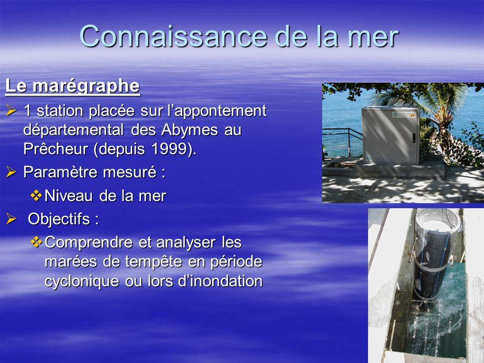 Connaissance de la mer Le marégraphe 1 station placée sur lappontement départemental des Abymes au Prêcheur (depuis 1999). 1 station placée sur lappon