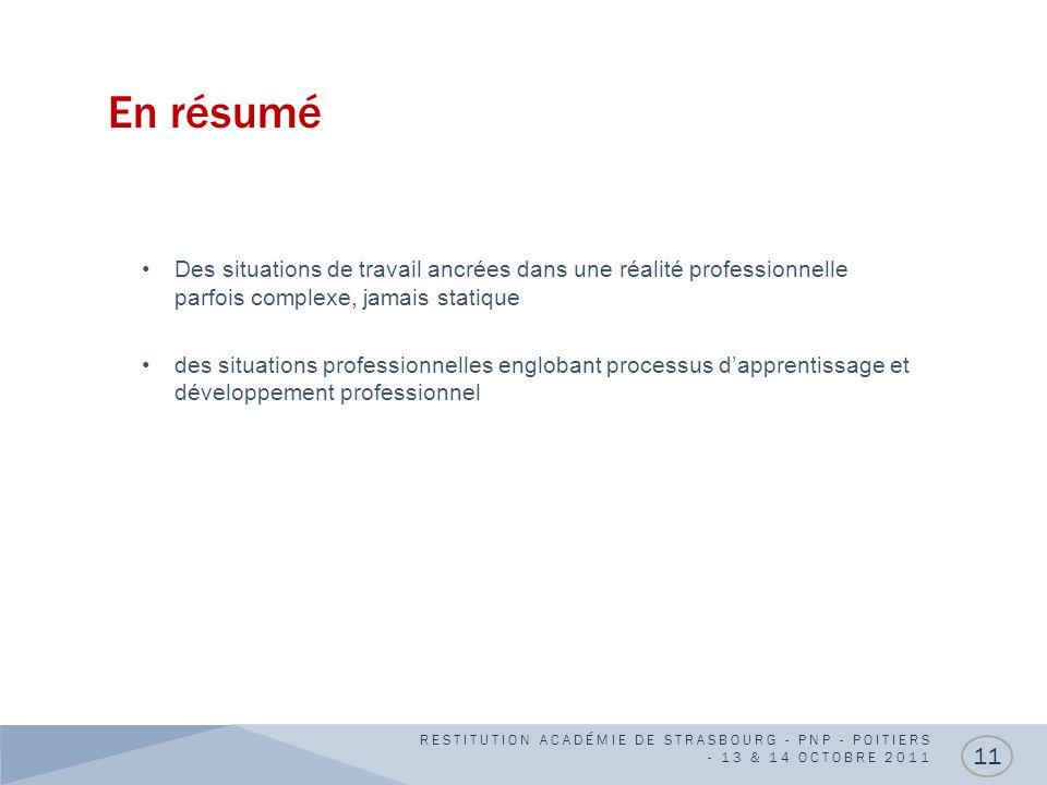 En résumé RESTITUTION ACADÉMIE DE STRASBOURG - PNP - POITIERS - 13 & 14 OCTOBRE 2011 11 Des situations de travail ancrées dans une réalité professionn