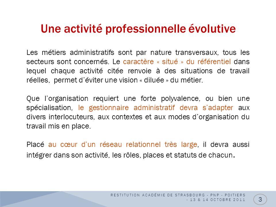 Une activité professionnelle évolutive RESTITUTION ACADÉMIE DE STRASBOURG - PNP - POITIERS - 13 & 14 OCTOBRE 2011 3 Les métiers administratifs sont pa