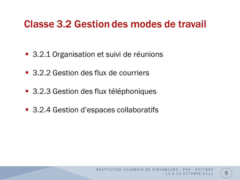 Classe 3.2 Gestion des modes de travail 3.2.1 Organisation et suivi de réunions 3.2.2 Gestion des flux de courriers 3.2.3 Gestion des flux téléphoniqu