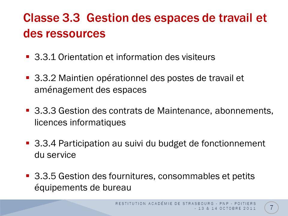 Classe 3.3 Gestion des espaces de travail et des ressources 3.3.1 Orientation et information des visiteurs 3.3.2 Maintien opérationnel des postes de t