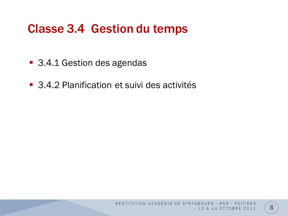 Classe 3.4 Gestion du temps 3.4.1 Gestion des agendas 3.4.2 Planification et suivi des activités RESTITUTION ACADÉMIE DE STRASBOURG - PNP - POITIERS -