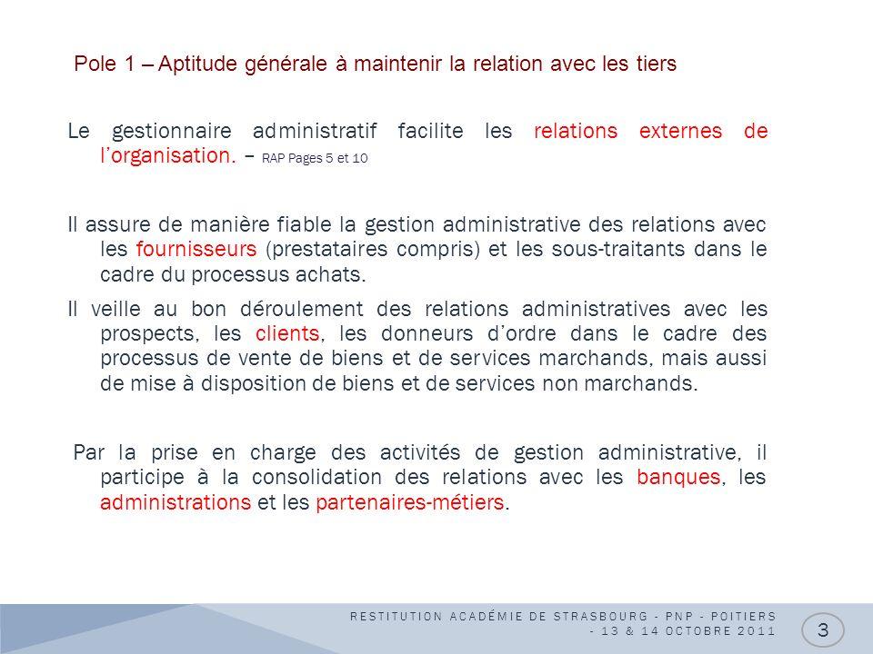 14 SITUATIONS PROFESSIONNELLES DE RÉFÉRENCE 14 SITUATIONS PROFESSIONNELLES DE RÉFÉRENCE POLE 1 : GESTION ADMINISTRATIVE DES RELATIONS INTERNES RESTITUTION ACADÉMIE DE STRASBOURG - PNP - POITIERS - 13 & 14 OCTOBRE 2011 4