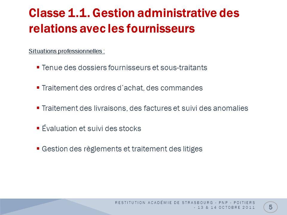 Classe 1.1. Gestion administrative des relations avec les fournisseurs Situations professionnelles : Tenue des dossiers fournisseurs et sous-traitants