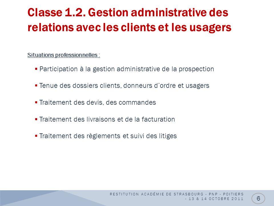 Classe 1.2. Gestion administrative des relations avec les clients et les usagers Situations professionnelles : Participation à la gestion administrati