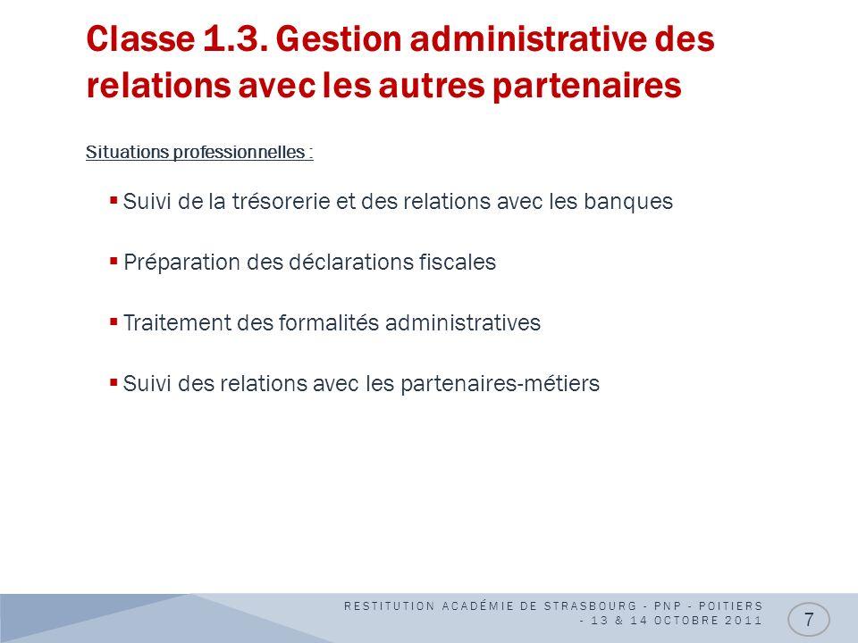 Classe 1.3. Gestion administrative des relations avec les autres partenaires Situations professionnelles : Suivi de la trésorerie et des relations ave