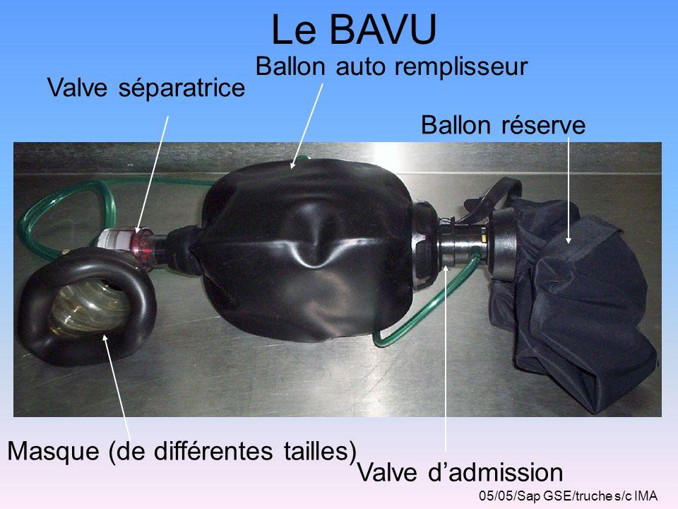 SURVEILLANCE De la victime Du manomètre (calcul dautonomie) Du débitmètre (constance du débit) Du ballon réserve ou du masque Haute concentration (remplissage correct) 05/05/Sap GSE/truche s/c IMA