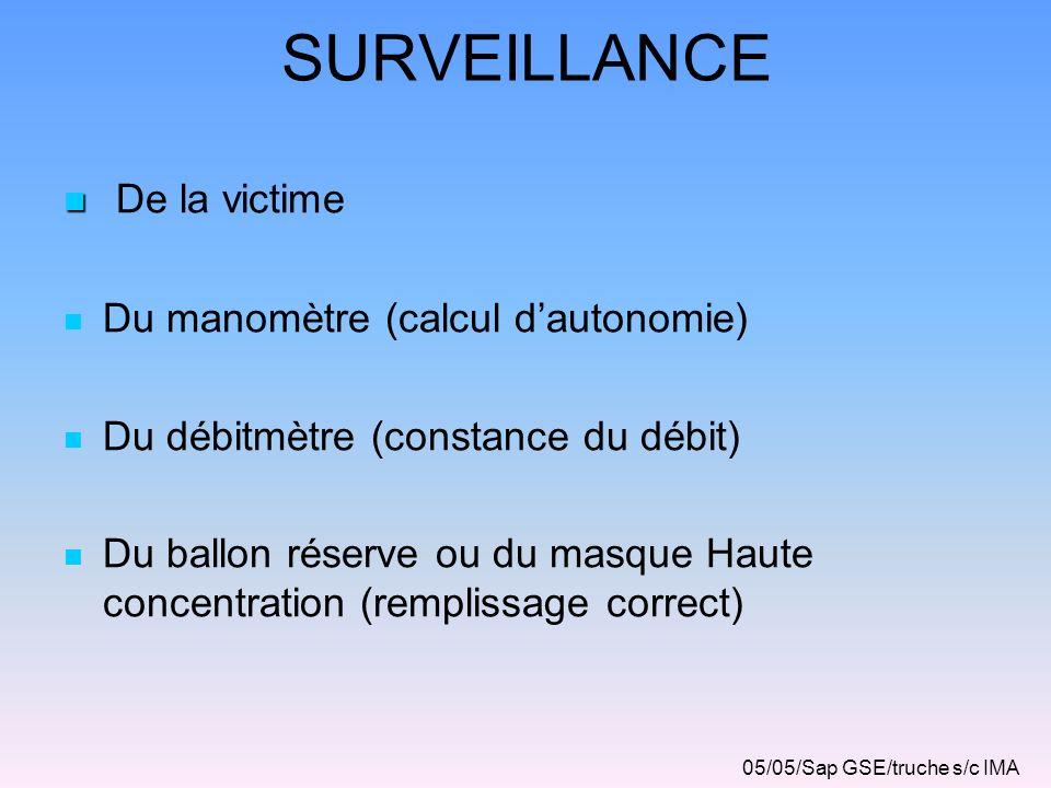 SURVEILLANCE De la victime Du manomètre (calcul dautonomie) Du débitmètre (constance du débit) Du ballon réserve ou du masque Haute concentration (rem