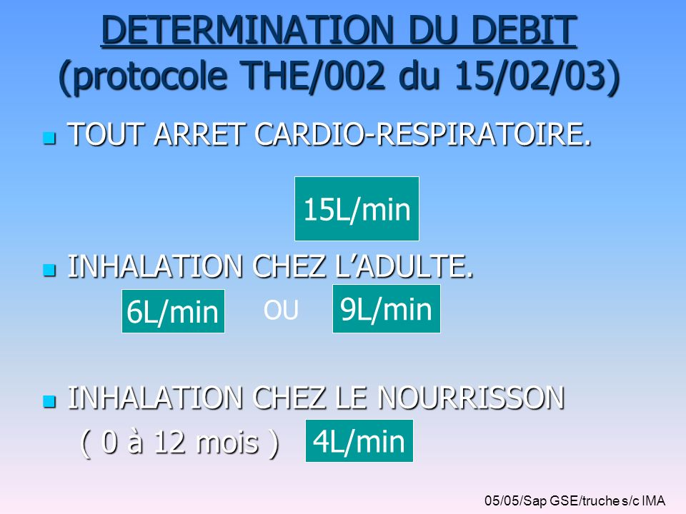 15L/min DETERMINATION DU DEBIT (protocole THE/002 du 15/02/03) TOUT ARRET CARDIO-RESPIRATOIRE. TOUT ARRET CARDIO-RESPIRATOIRE. INHALATION CHEZ LADULTE