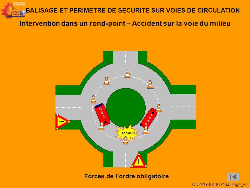 Intervention dans un rond-point – Accident sur la voie de sortie BALISAGE ET PERIMETRE DE SECURITE SUR VOIES DE CIRCULATION ! Accident VSABVSAB ! VSRV