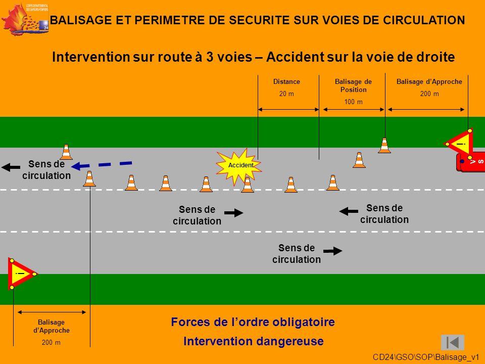 Intervention dans un rond-point – Accident sur la voie du milieu BALISAGE ET PERIMETRE DE SECURITE SUR VOIES DE CIRCULATION Accident VSABVSAB VSRVSR F