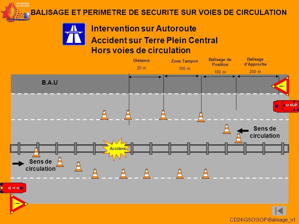 Accident sur 2 voies Voie de gauche et voie centrale Intervention sur Autoroute BALISAGE ET PERIMETRE DE SECURITE SUR VOIES DE CIRCULATION Balisage de