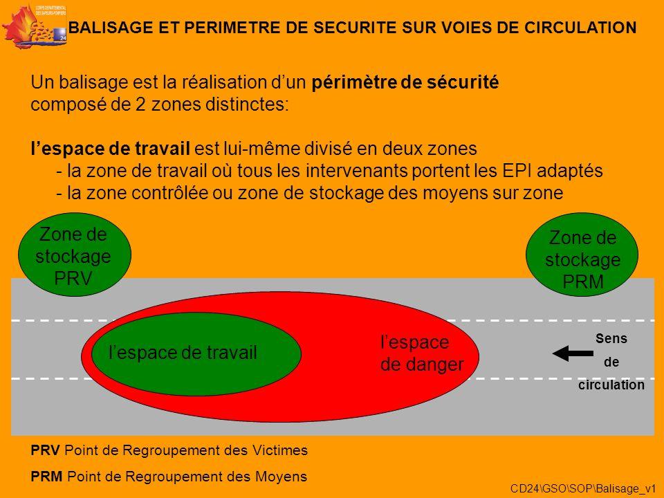 Un balisage est la réalisation dun périmètre de sécurité composé de 2 zones distinctes: BALISAGE ET PERIMETRE DE SECURITE SUR VOIES DE CIRCULATION 1/