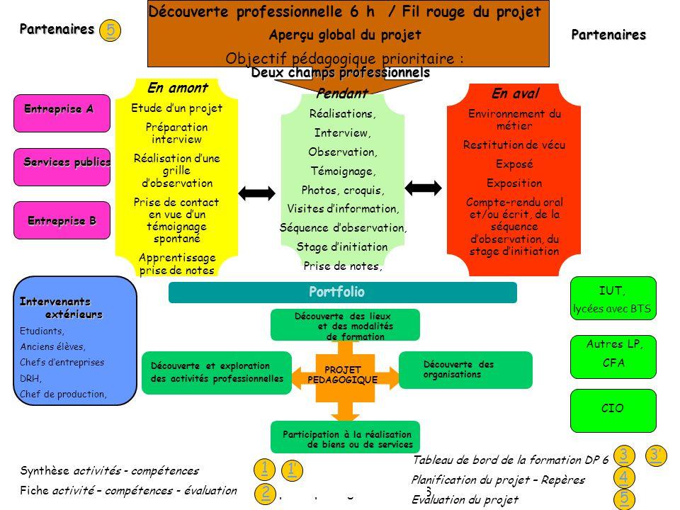 Académie d'Orléans-Tours - Groupe de pilotage - Avril 2006 13 Découverte professionnelle 6 h / Fil rouge du projet Aperçu global du projet Objectif pé