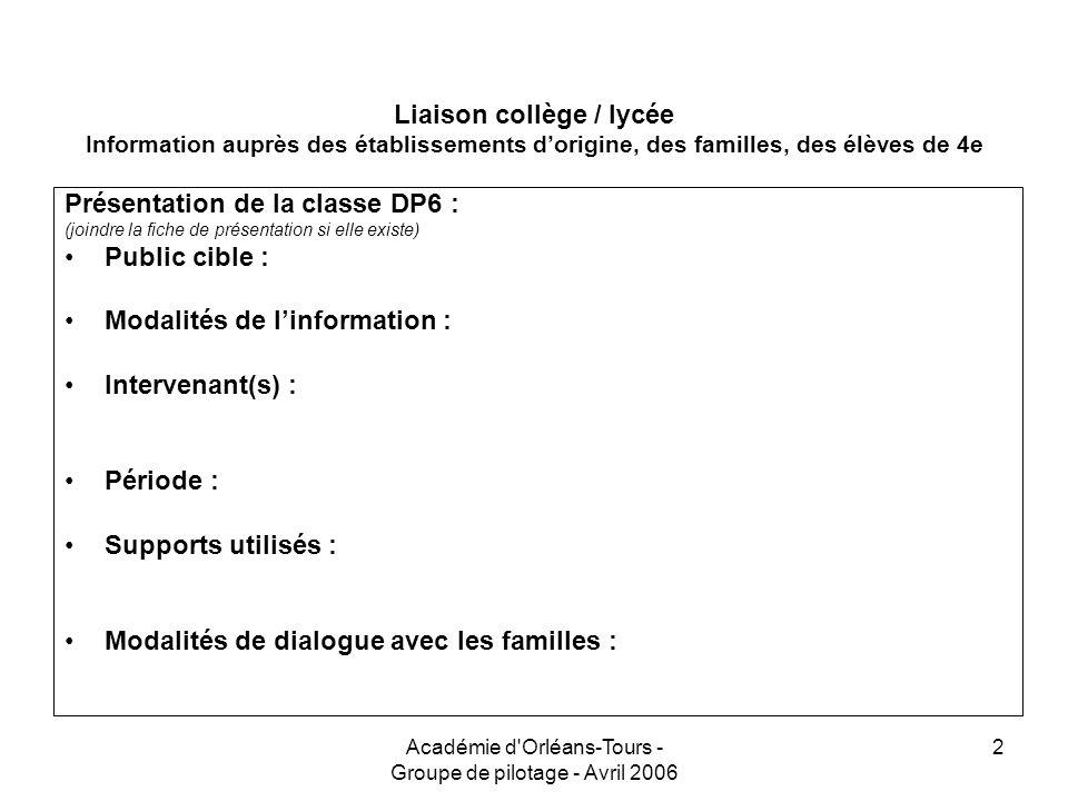 Académie d'Orléans-Tours - Groupe de pilotage - Avril 2006 2 Liaison collège / lycée Information auprès des établissements dorigine, des familles, des