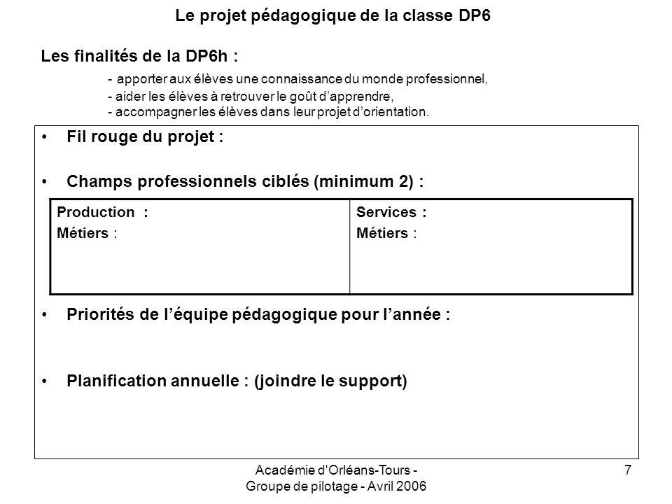 Académie d'Orléans-Tours - Groupe de pilotage - Avril 2006 7 Le projet pédagogique de la classe DP6 Les finalités de la DP6h : - apporter aux élèves u