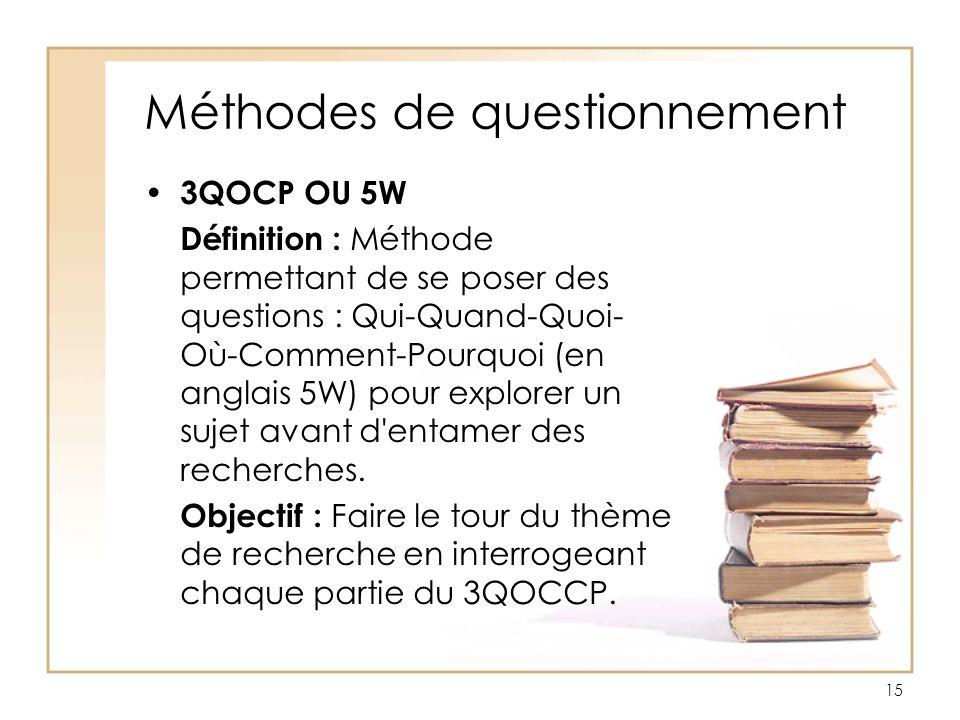 Méthodes de questionnement 3QOCP OU 5W Définition : Méthode permettant de se poser des questions : Qui-Quand-Quoi- Où-Comment-Pourquoi (en anglais 5W)
