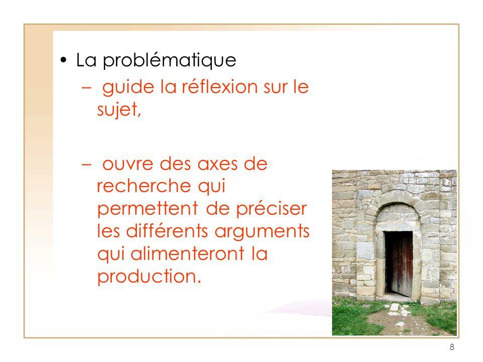 La problématique – guide la réflexion sur le sujet, – ouvre des axes de recherche qui permettent de préciser les différents arguments qui alimenteront