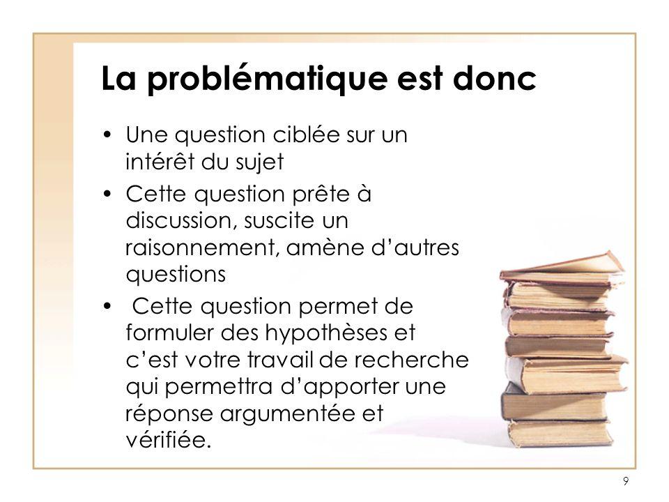 Comment construire une problématique .